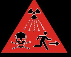 seit 2007 zusätzliches Strahlungs-Warnzeichen (Dreieck mit schwarzem Rand!) der IAEO (Internationale Atomenergiebehörde iaea.org). Bild PD Public Domain