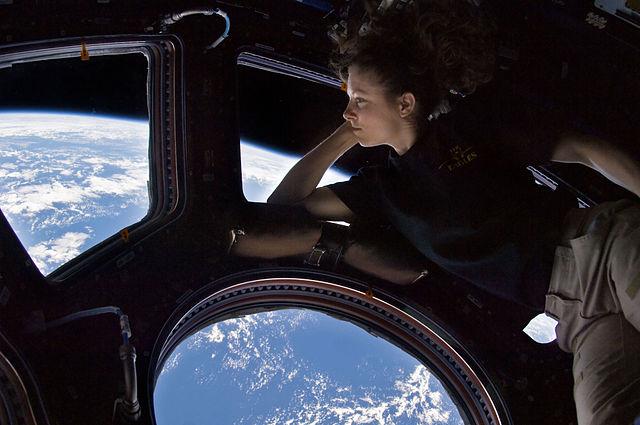 Astronautin Tracy Caldwell-Dyson blickt von der ISS aus auf den Blauen Planeten ... 2010 NASA, PD. Wikimedia Commons